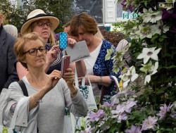 Signore fotografano le piante esposte a Londra