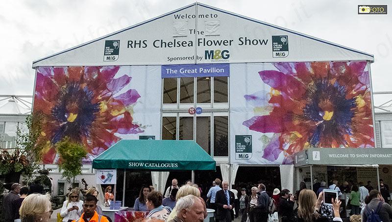 Il padiglione che ospita una parte del Chelsea Flowe Show