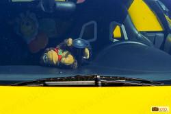 Un peluche in una Ferrari
