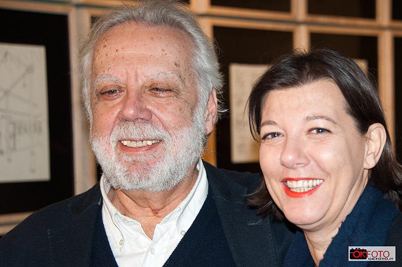 Staino con Patrizia Asproni, presidente della Fondazione Torino Musei