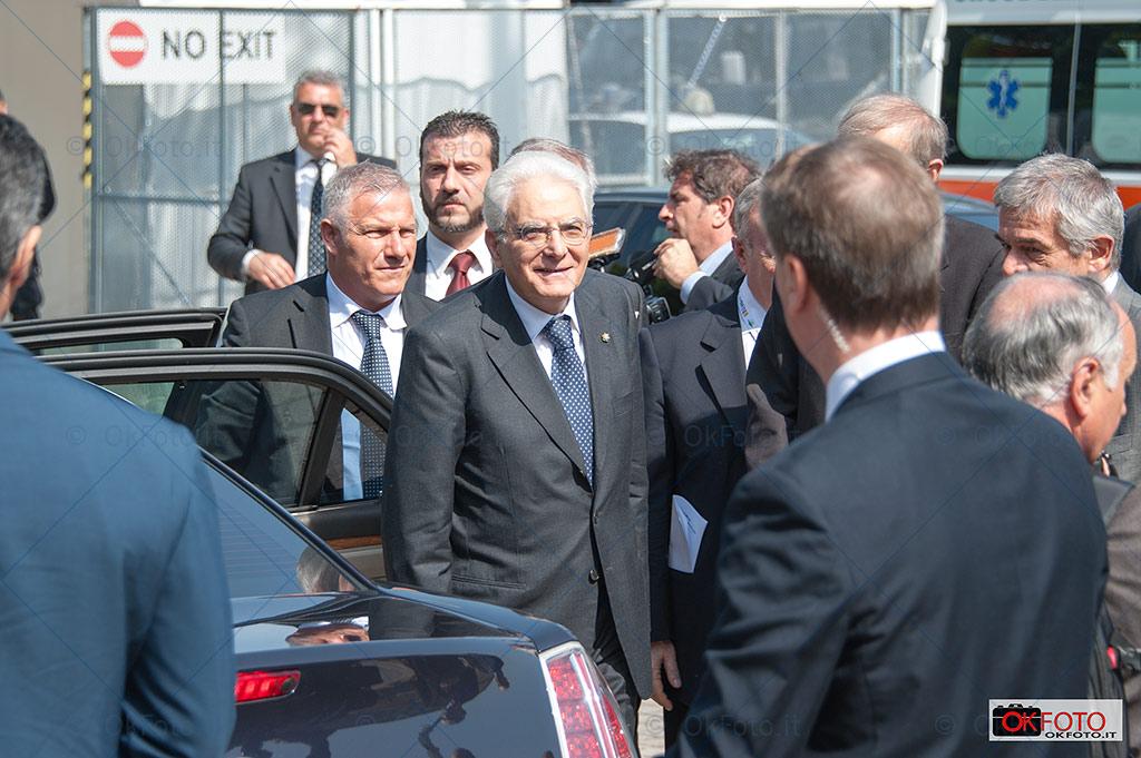 Il presidente Sergio Mattarella all'arrivo al Salone del libro