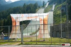 L'ingresso agli impianti dei trampolini, ormai inutillizzati da tempo