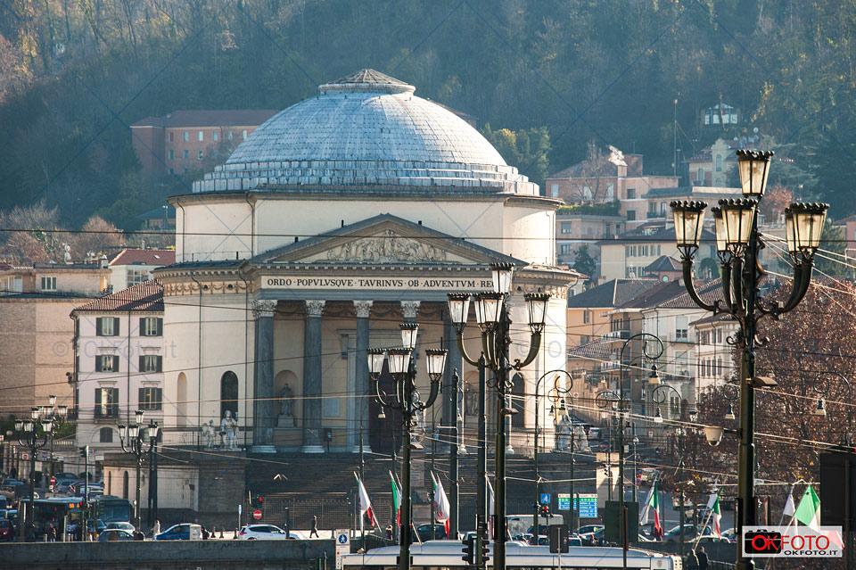 Torino, la chiesa della Gran Madre vista da piazza Vittorio