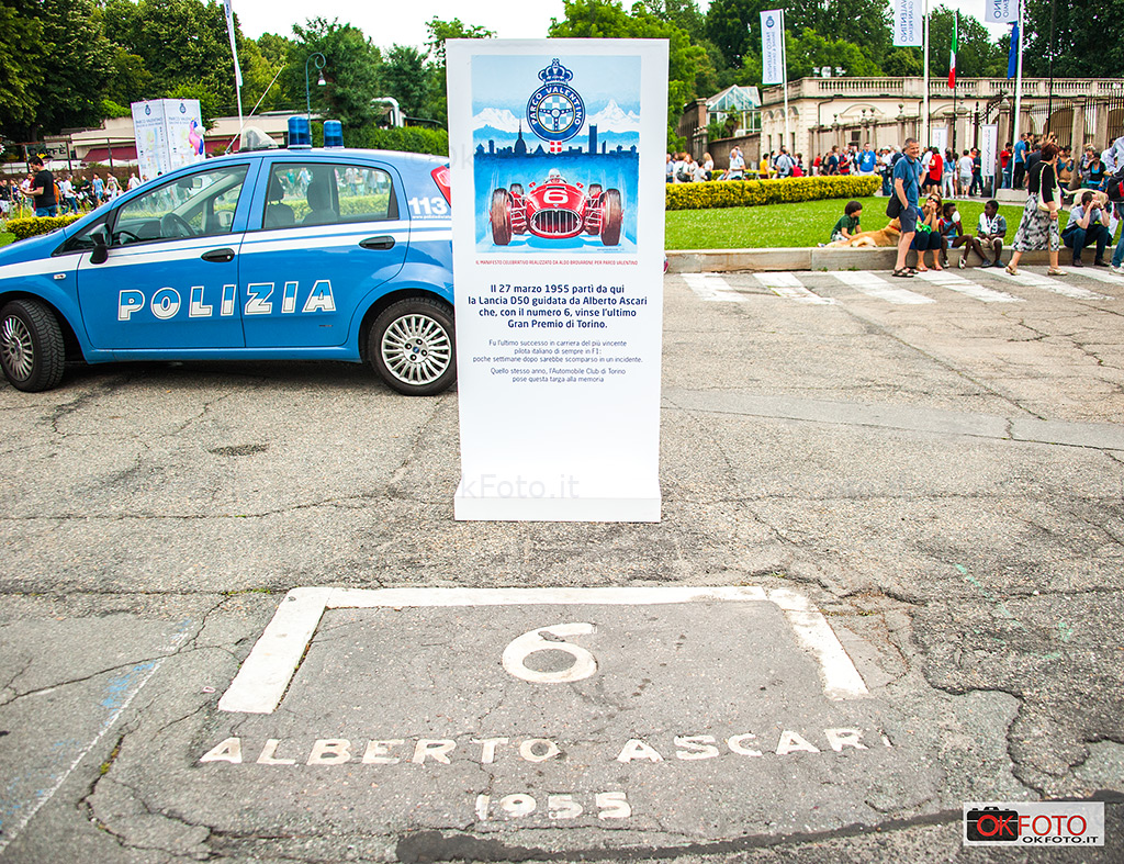 Il punto di partenza di Alberto Ascari davanti al Castello del Valentino