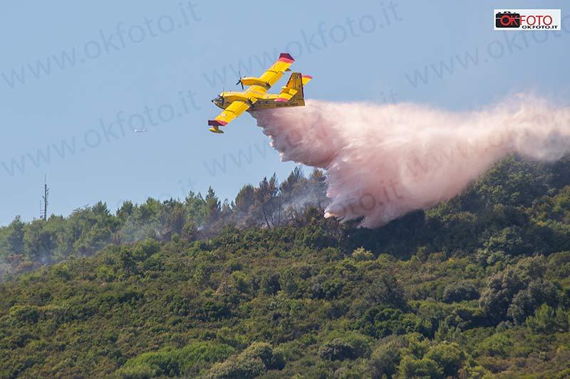 Incendio boschivo a Bordighera: Canadair ed elicotteri in azione